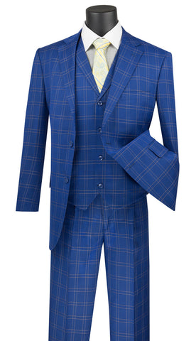 Vinci Men Suit  V2PD1-Blue - Church Suits For Less