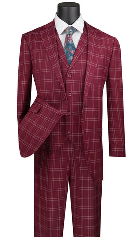 Vinci Men Suit  V2PD1-Burgundy - Church Suits For Less