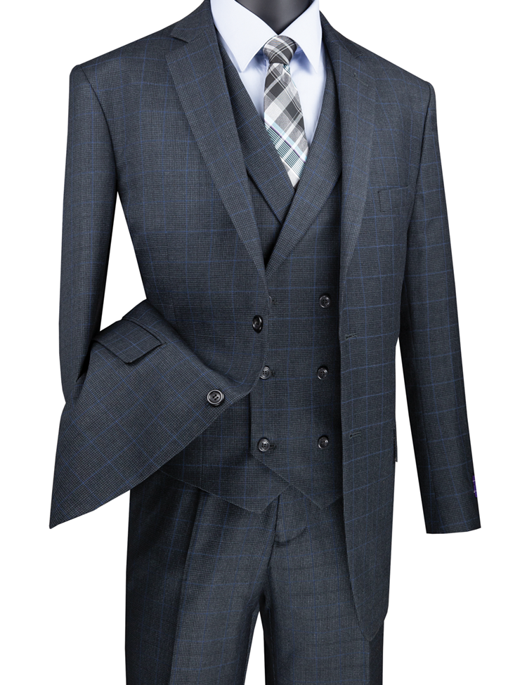 Vinci Men Suit V2RW-13-Charcoal - Church Suits For Less