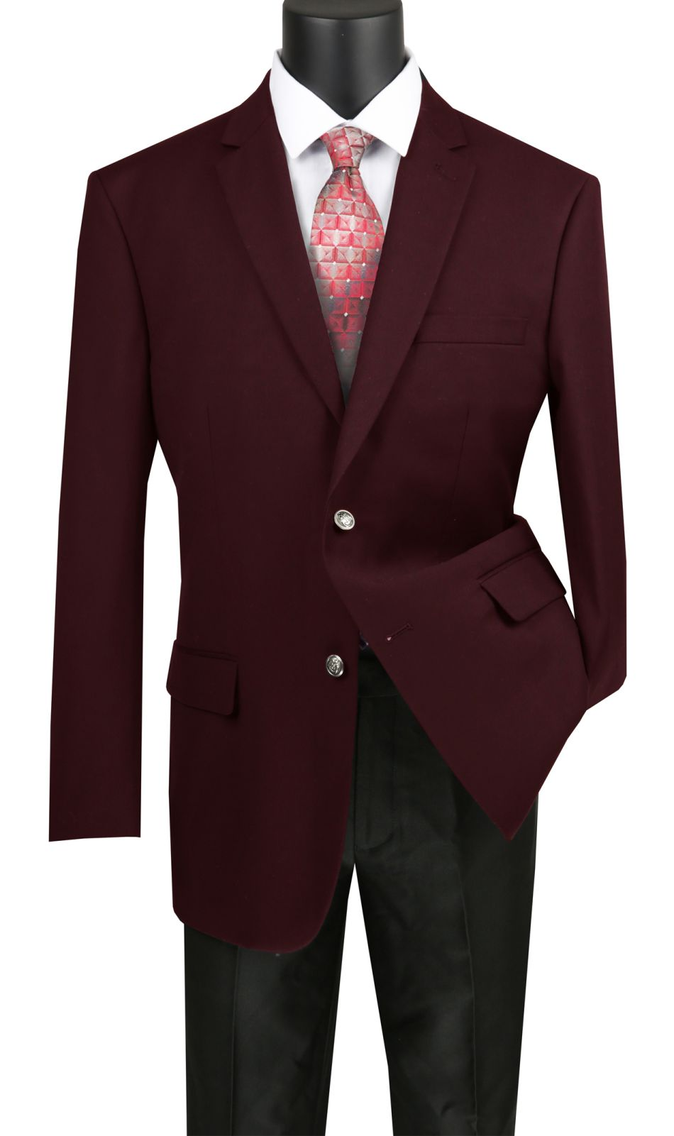 Vinci Men Sport Coat B-TR-Burgundy - Church Suits For Less