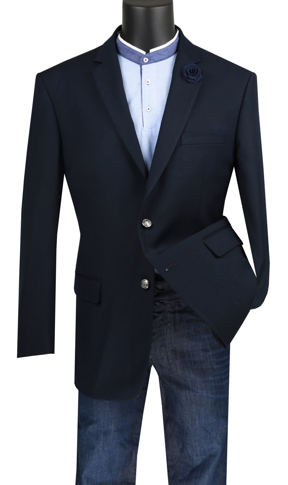 Vinci Men Sport Coat B-TR-Navy Blue - Church Suits For Less