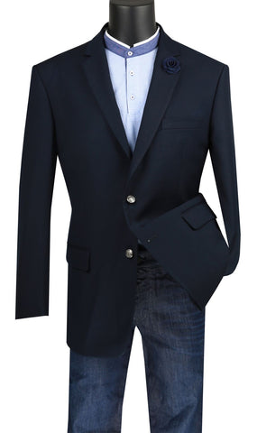 Vinci Men Sport Coat B-TR-Navy Blue