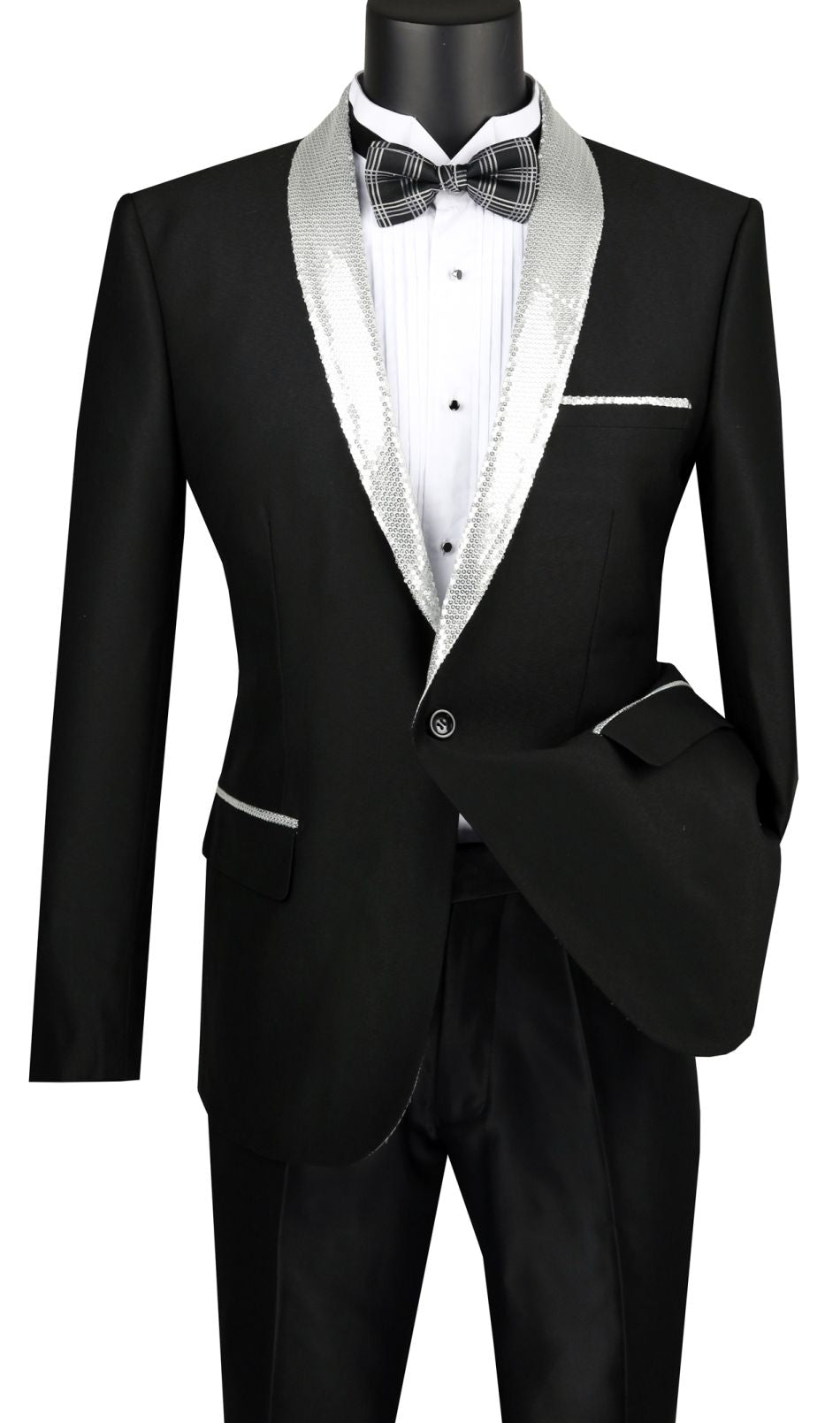 Vinci Men Sport Coat BSQ-3-Black/Silver - Church Suits For Less