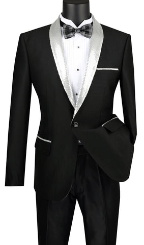 Vinci Men Sport Coat BSQ-3-Black/Silver