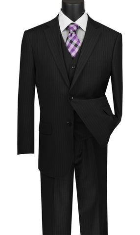 Vinci Men Suit V2RS-7-Black - Church Suits For Less