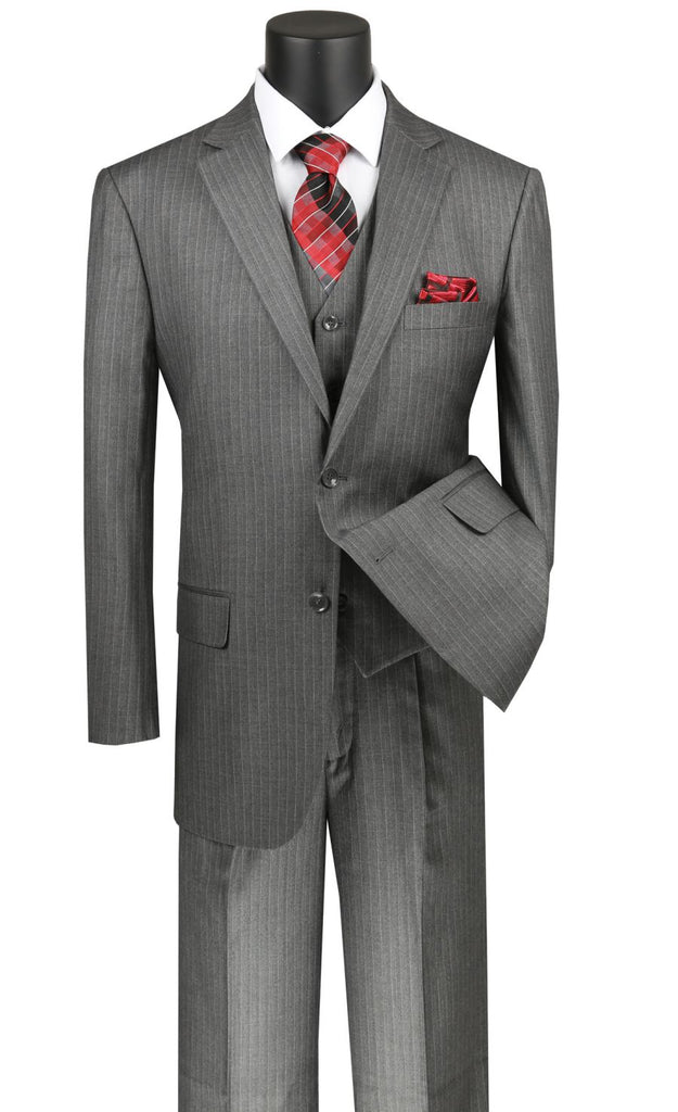 Vinci Men Suit V2RS-7-Medium Gray - Church Suits For Less