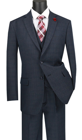 Vinci Men Suit V2RW-15-Blue - Church Suits For Less