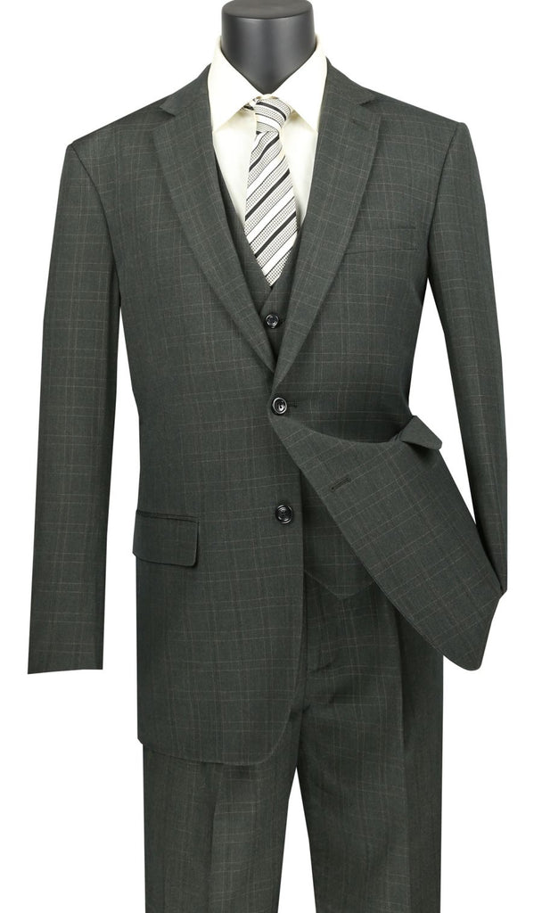 Vinci Men Suit V2RW-15-Olive - Church Suits For Less