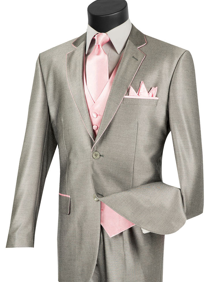 Vinci Men Suit 23SS-4-Grey/Pink - Church Suits For Less