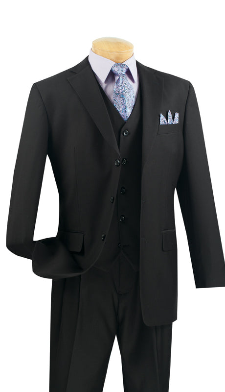 Vinci Men Suit 3TR-3-Black - Church Suits For Less