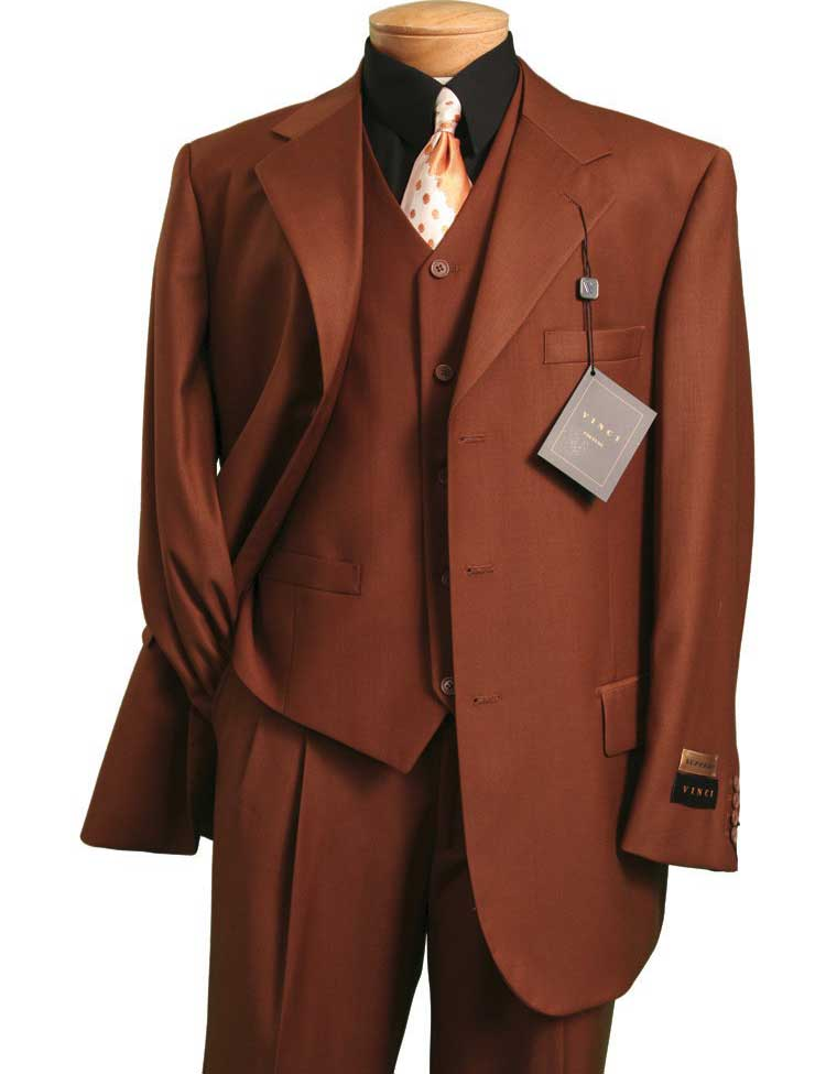 Vinci Men Suit 3TR-3-Cognac - Church Suits For Less
