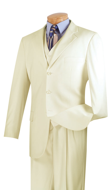 Vinci Men Suit 3TR-3-Ivory - Church Suits For Less