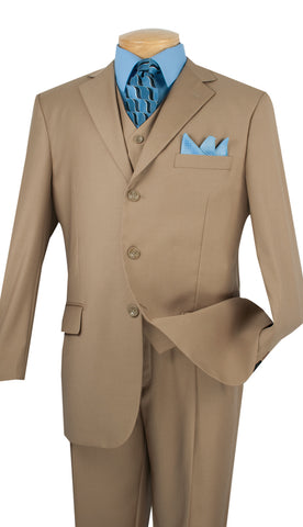 Vinci Men Suit 3TR-3-Khaki - Church Suits For Less