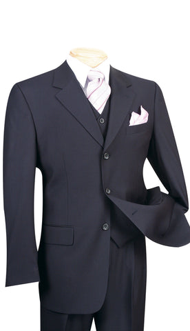 Vinci Men Suit 3TR-3-Navy - Church Suits For Less