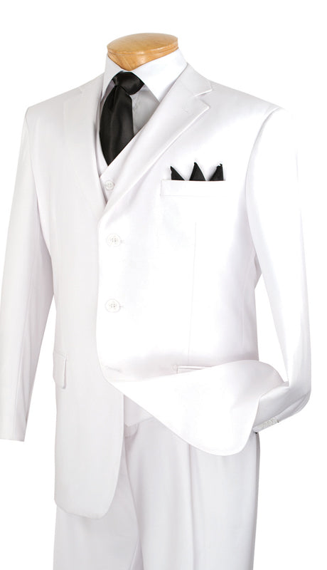 Vinci Men Suit 3TR-3-White - Church Suits For Less