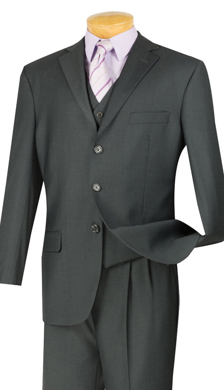 Vinci Men Suit 3TR-3-Heather Gray - Church Suits For Less