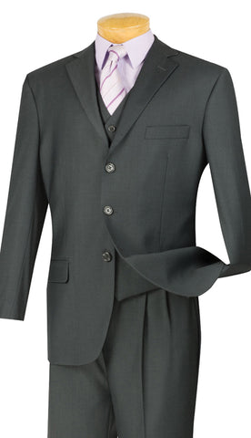 Vinci Men Suit 3TR-3-Heather Gray