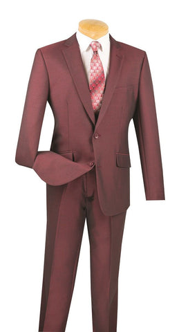 Vinci Men Suit S2RK-7-Burgundy - Church Suits For Less