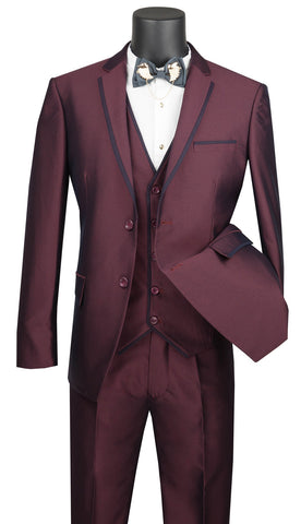 Vinci Men Suit USVD-2-Burgundy - Church Suits For Less
