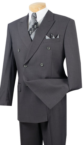 Vinci Men Suit DC900-1-Heather Grey - Church Suits For Less