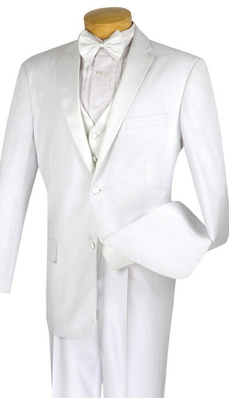 Vinci Men Tuxedo 4TV-1-White - Church Suits For Less