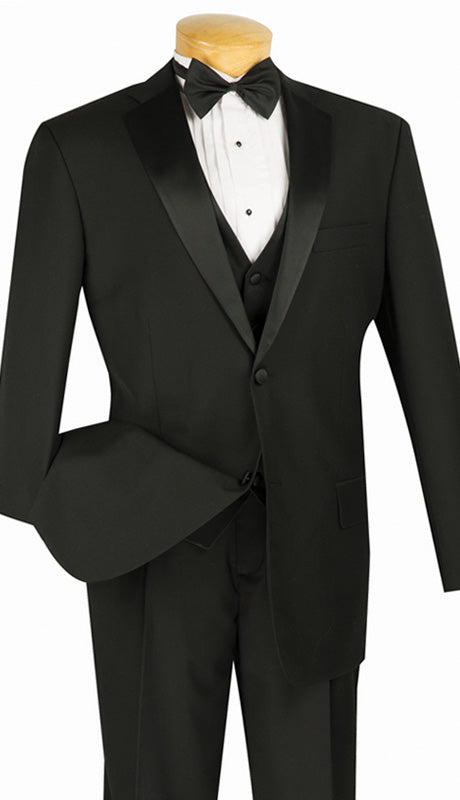 Vinci Men Tuxedo 4TV-1-Black - Church Suits For Less
