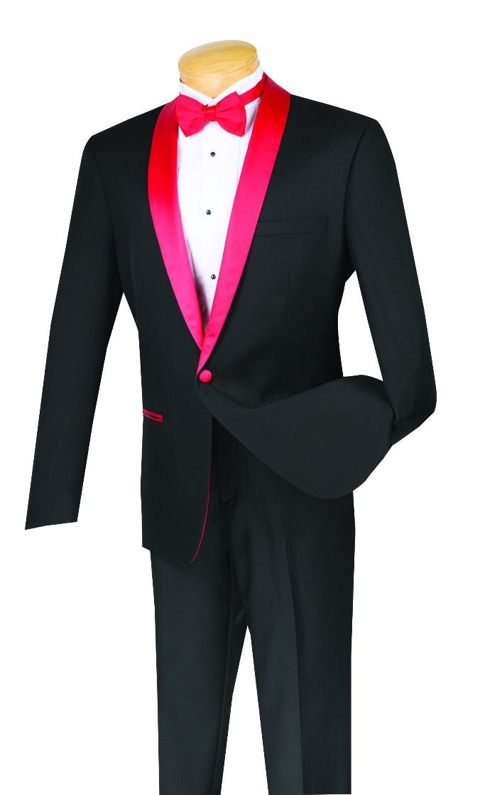 Vinci Tuxedo S1SH2-Black/Red - Church Suits For Less