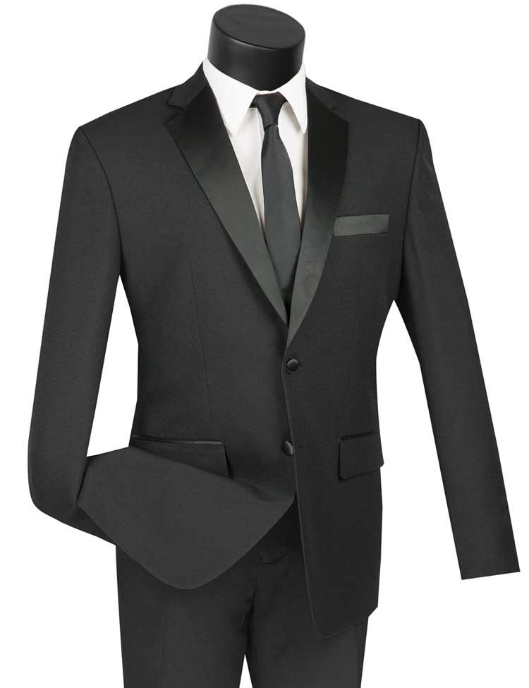Vinci Tuxedo T-SLPP-Black - Church Suits For Less