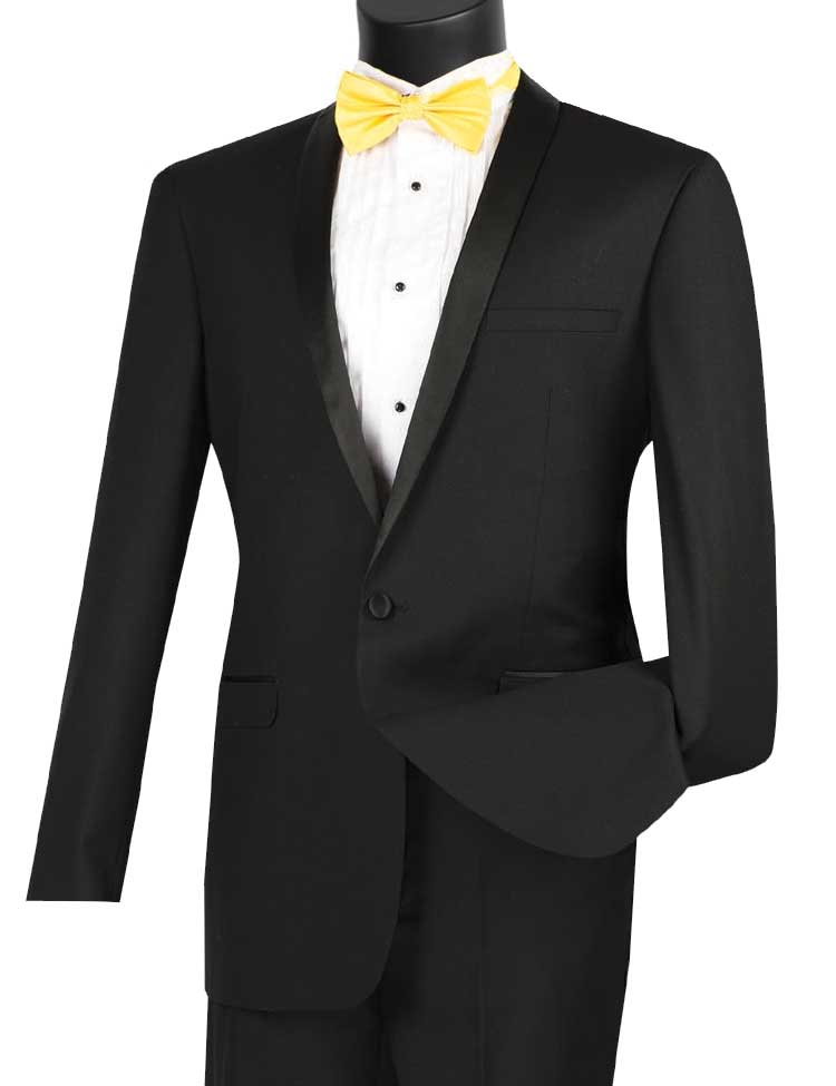 Vinci Tuxedo T-SS-Black - Church Suits For Less