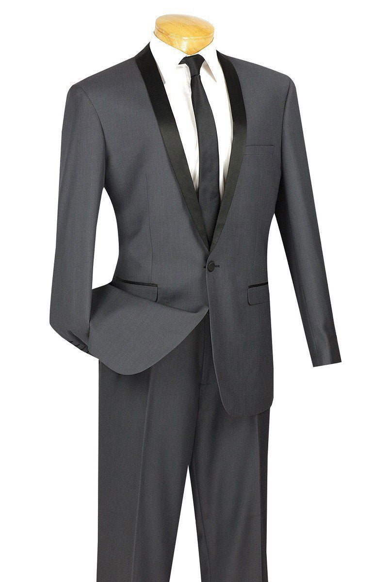 Vinci Tuxedo T-SS-Heather Gray - Church Suits For Less