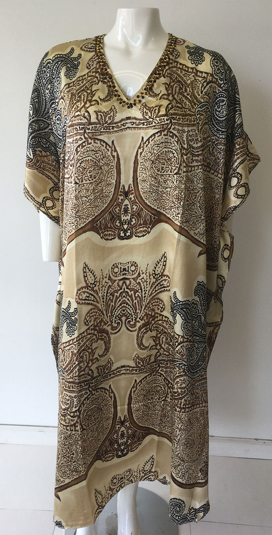 Women Caftan Brown Print - Church Suits For Less