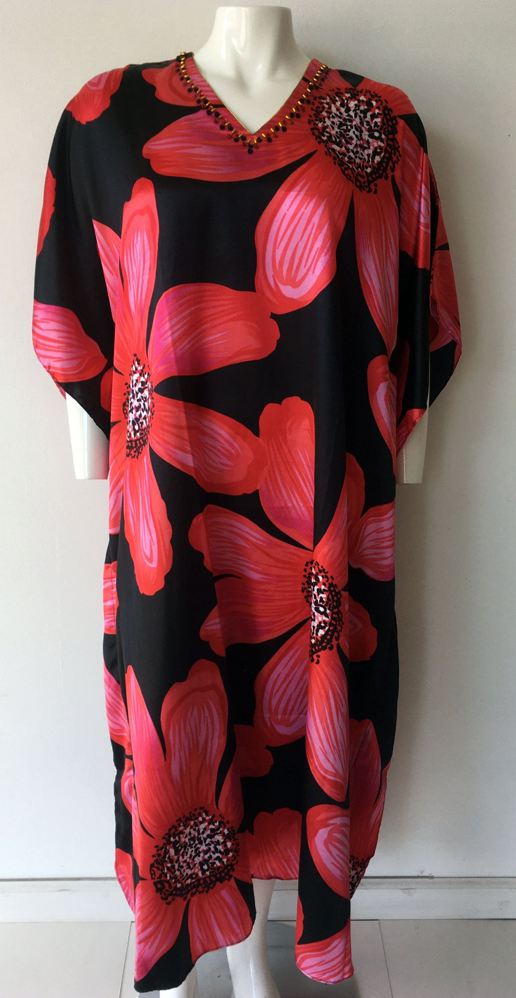 Women Caftan Red Print - Church Suits For Less
