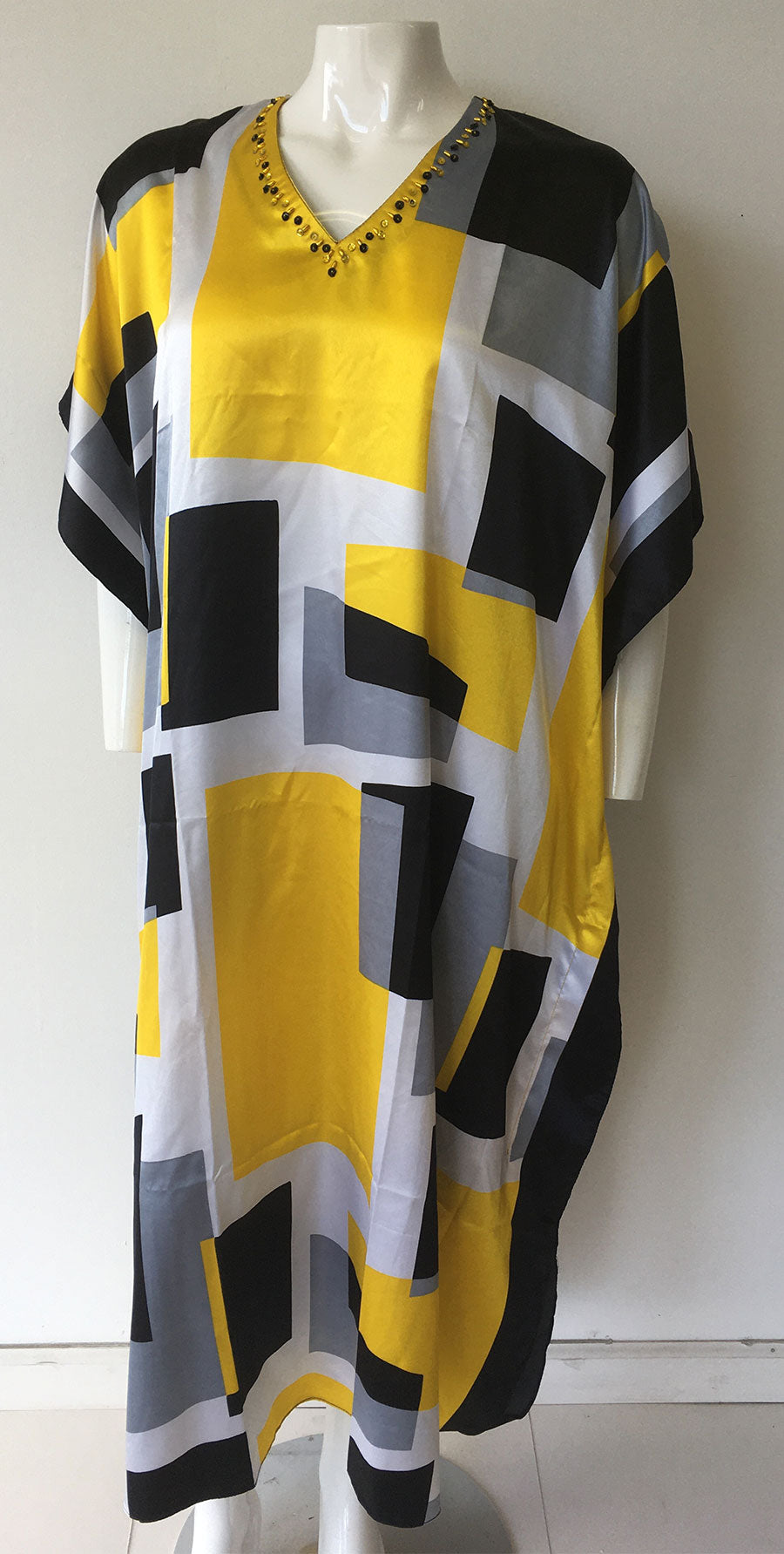 Women Caftan Yellow Print - Church Suits For Less