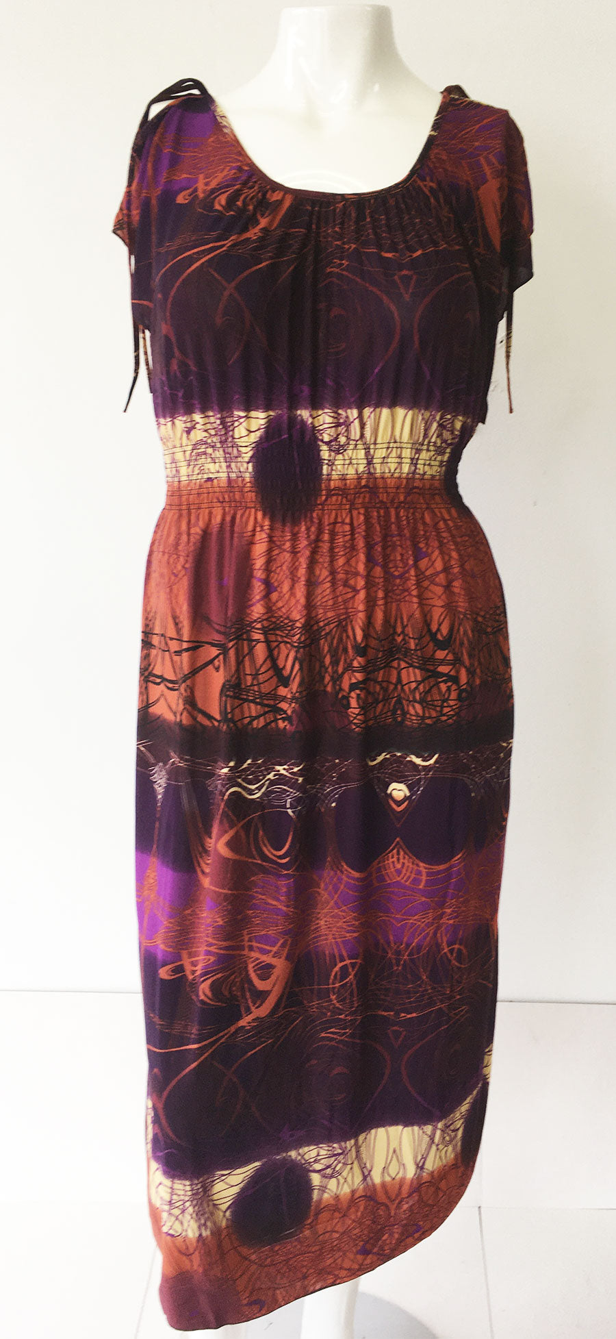 Casual Dress HY2274-Purple Print - Church Suits For Less