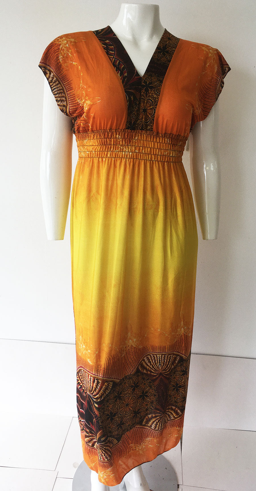 Casual Dress HY3226-Orange Print - Church Suits For Less