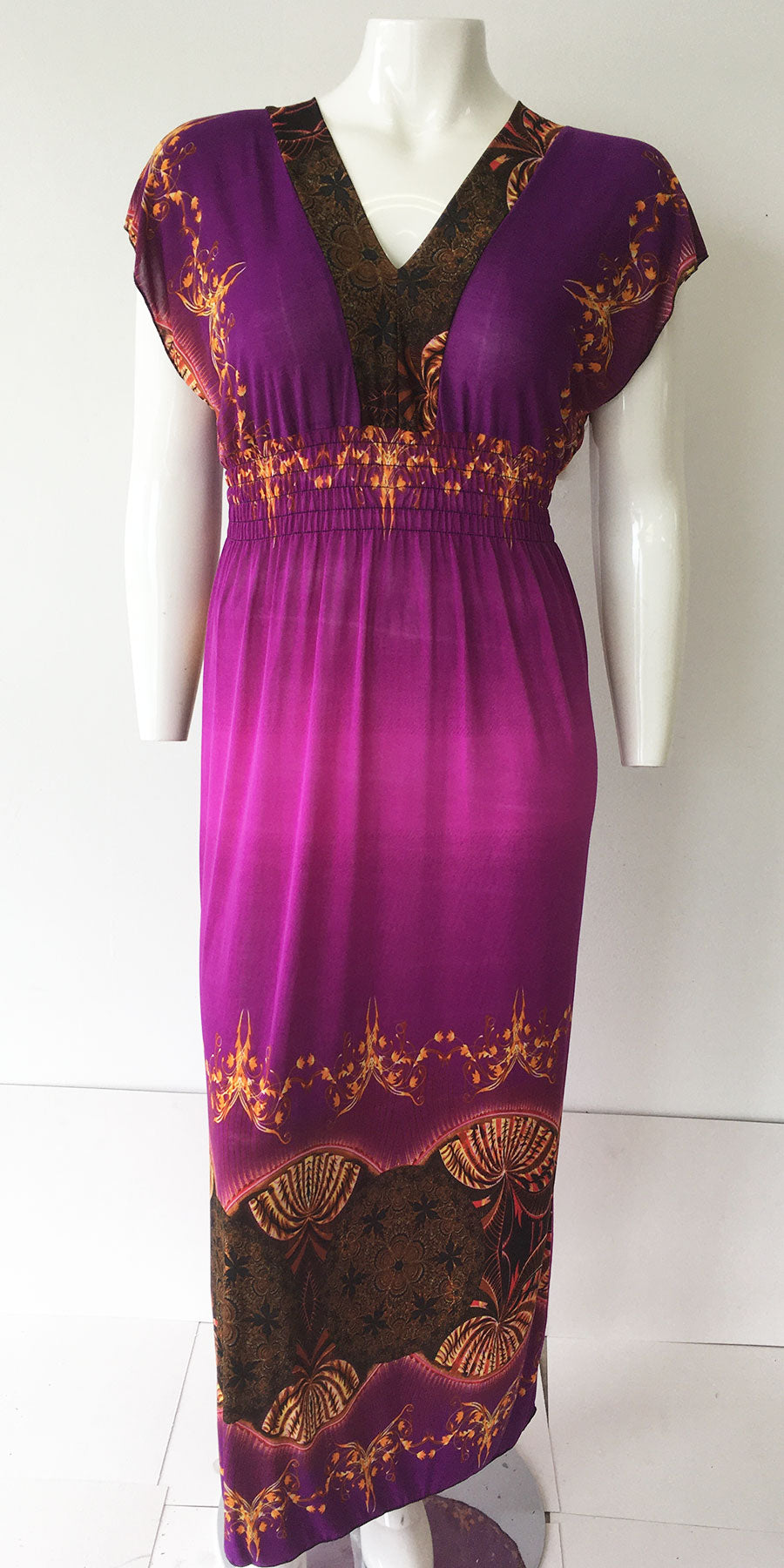 Casual Dress HY3226-Purple Print - Church Suits For Less