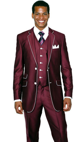 Milano Moda Men Suit 5702V1-Burgundy - Church Suits For Less
