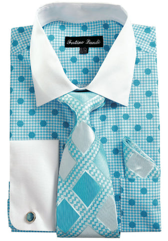 Men Shirt FL632-Turquoise - Church Suits For Less
