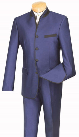 Vinci Men Suit S4HT-1-Blue - Church Suits For Less