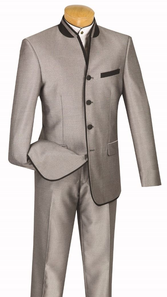 Vinci Men Suit S4HT-1-Grey - Church Suits For Less