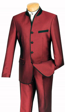 Vinci Men Suit S4HT-1C-Wine - Church Suits For Less