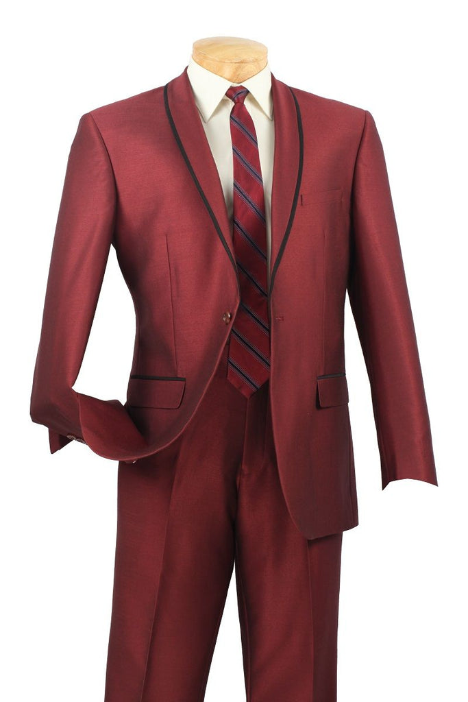 Vinci Men Suit SSH-1-Maroon - Church Suits For Less