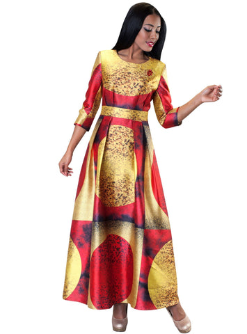 Tally Taylor Dress 4497-Mustard/Red - Church Suits For Less