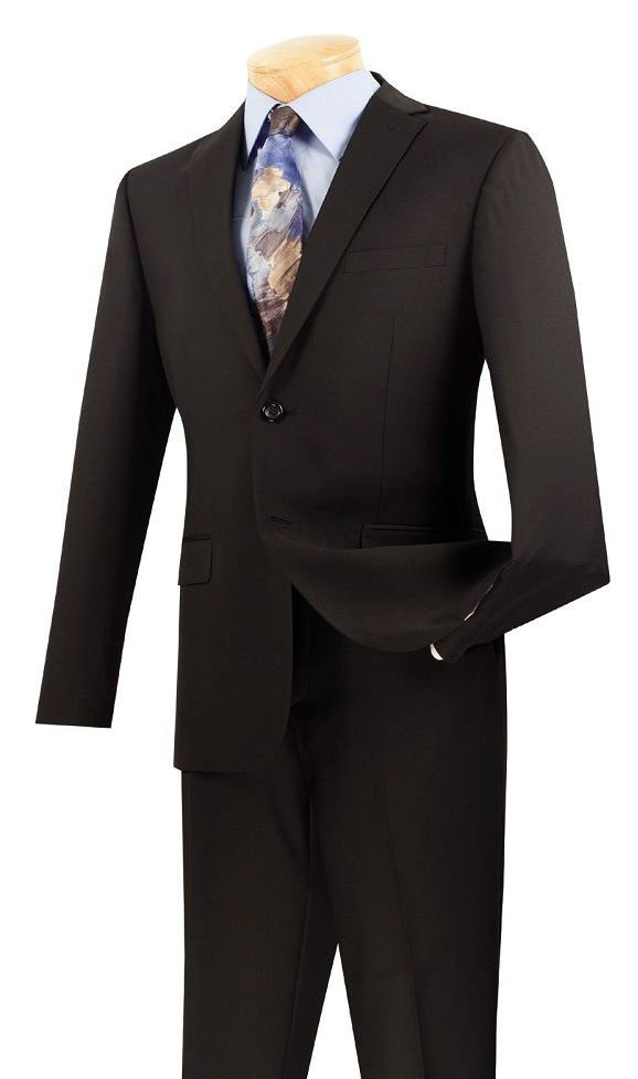 Vinci Men Suit US900-1-Black - Church Suits For Less