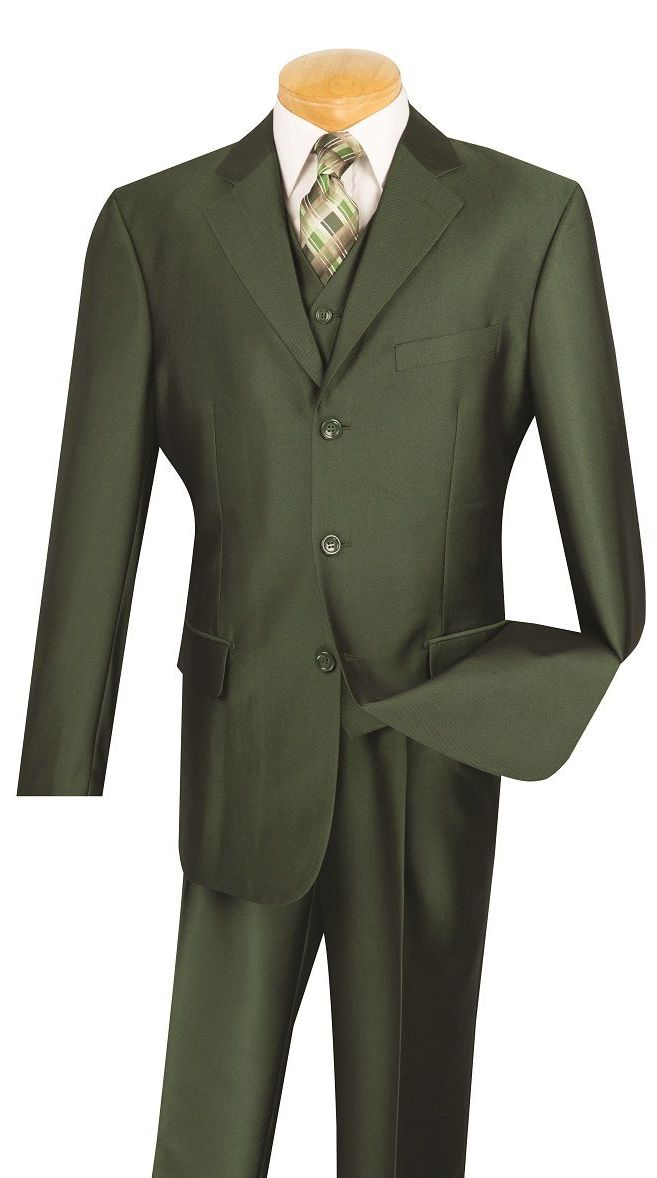 Vinci Men Suit V3RR-4C-Olive - Church Suits For Less