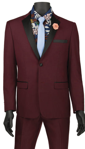Vinci Men Tuxedo T-US900-Wine - Church Suits For Less
