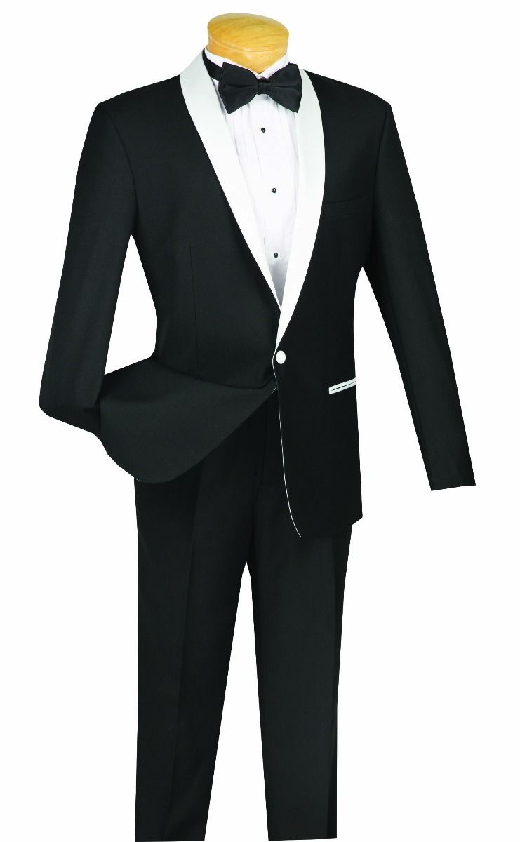 Vinci Tuxedo S1SH-2-Black/White - Church Suits For Less