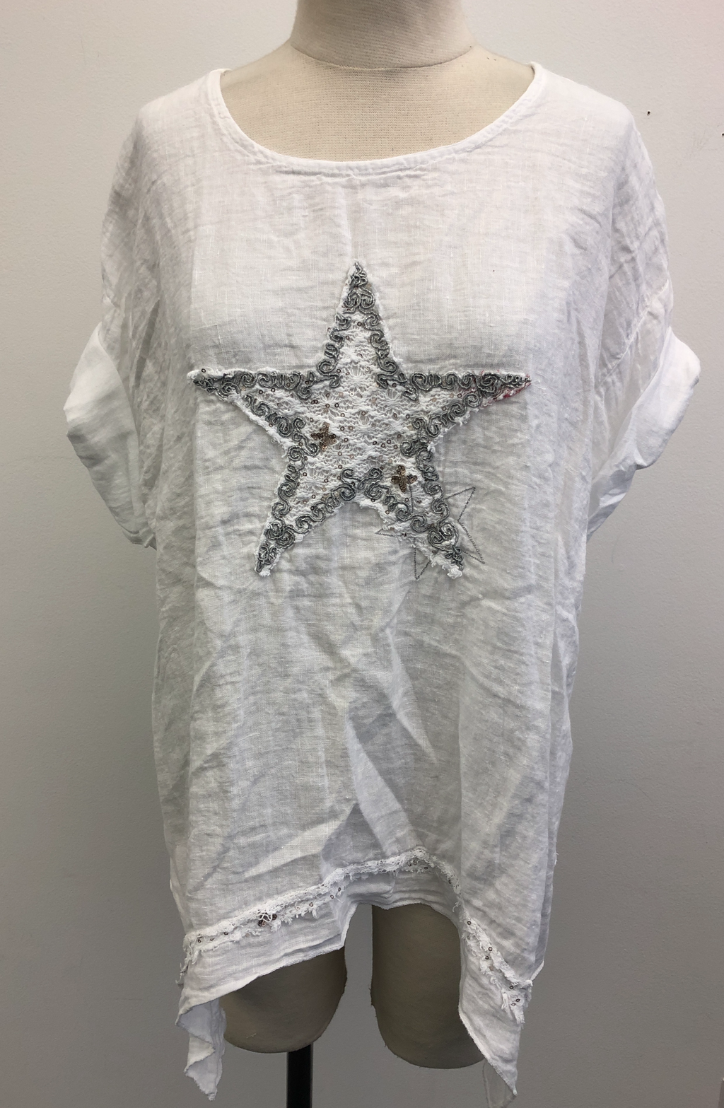 Linen Top With Star Embroidery