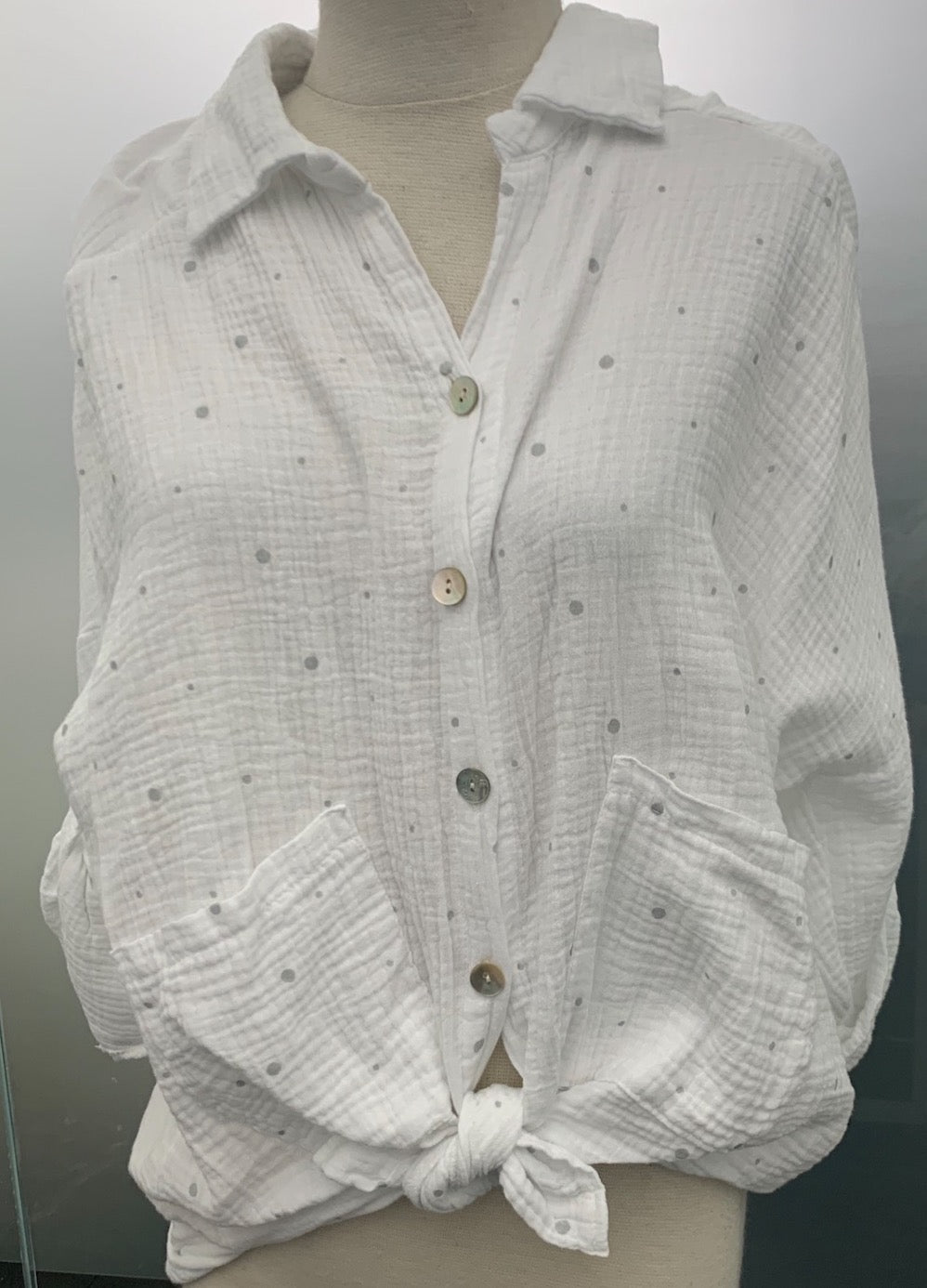 Double Gauze Polka Dot Button Down