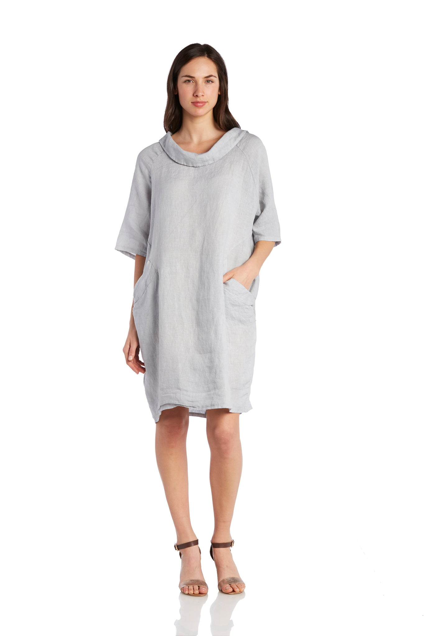 Cowl Neck Linen Dress